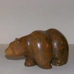 Soapstone Grizzly Bear Med Size Brown